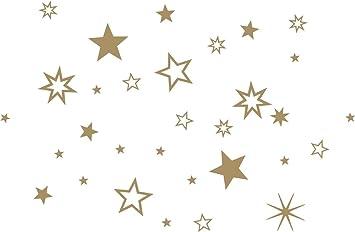 Stern Weihnachten.30 Stück Sterne Gold Aufkleber Mix Set Fensterdekoration Zu Weihnachten Fensterbild Fensteraufkleber Wandtattoo Deko Sticker Autoaufkleber