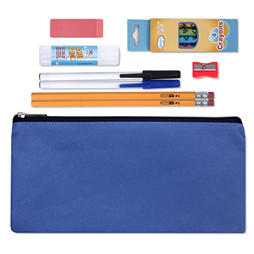 Pencil Case with Supplies - 12 Piece Back to School Kit with Grades K-8 School - Piece 12 Erasers