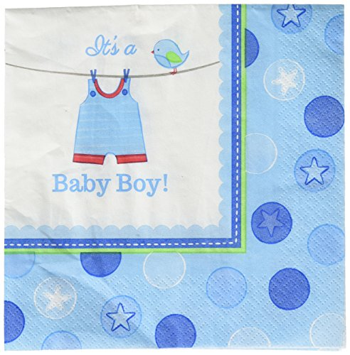 Amscan Adorable Love Boy Baby Shower Luncheon Napkins 65'' x 65'' Pack 16 Party Supplies , 192 Pieces by Amscan