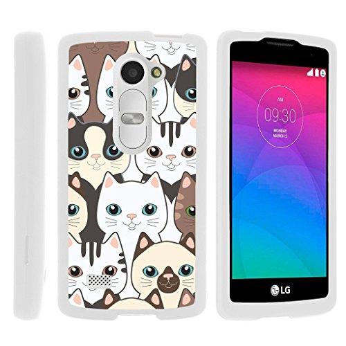 MINITURTLE Case Compatible w/ [LG Leon Case, LG Tribute 2 Case, LG Risio Case][Snap Shell] Hard Plastic Lightweight Slim White Snap on case w/Unique Designs Cute Kittens