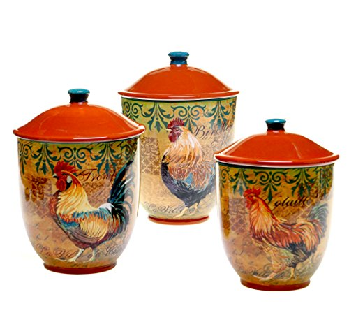 Rooster Kitchen Canister - Certified International 3-Piece Rustic Rooster Canister Set, Multicolor