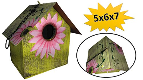 Sunflower Birdhouse - Wooden Birdhouses - SMALL Pink - Birdhouses For Outside - Birdhouses Decorative - Colorful Birdhouse - Chickadee Birdhouse - Finch Birdhouse - Wren Birdhouse - Painted Birdhouse by TopNotch Outlet