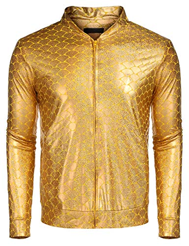 Style Jackets Men - COOFANDY Mens Sequin Jacket Zip Up Baseball Varsity Bomber Sparkle Metallic Party Nightclub Disco Jacket