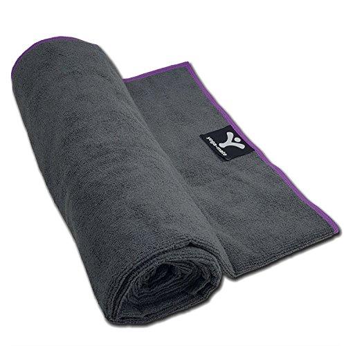Yoga Mate Premium Skidless Absorbent Microfiber Bikram Yoga Towels, Mat Size Towel, Gray | Purple Trim