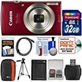 Canon PowerShot Elph 180 Digital Camera (Red) 32GB Card + Case + Battery + Tripod + Kit
