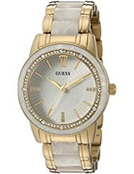 GUESS Womens U0706L3 Dressy Gold-Tone Watch with White Dial , Crystal-Accented Bezel and White Center Link Pilot...