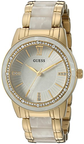 GUESS Women's U0706L3 Dressy Gold-Tone Watch with White Dial , Crystal-Accented Bezel and White Center Link Pilot Buckle (Gold Tone White Dial Watch)