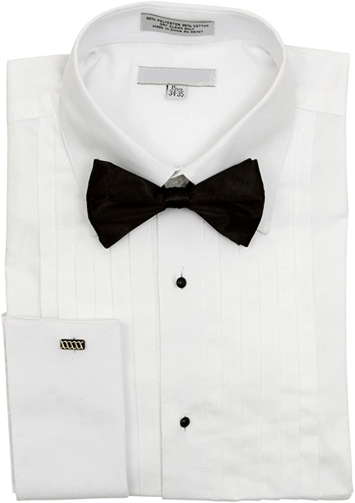 Sunrise Outlet Mens Pointed Collar French Cuff Pleated Tuxedo Shirt Black Bow Tie