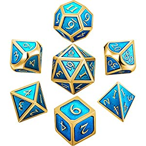 Hestya 7 Pieces Metal Dices Set DND Game Polyhedral Solid Metal D&D Dice Set with Storage Bag and Zinc Alloy with Enamel for Role Playing Game Dungeons and Dragons, Math Teaching (Golden Cerulean)
