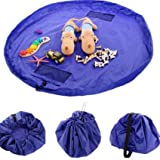 Apreen Children's Play Mat/ Toys Storage Bag and Floor Activity Mat/Toys Organizer Quick Pouch-Perfect for Storing Small and Medium-Size Toys-Blue