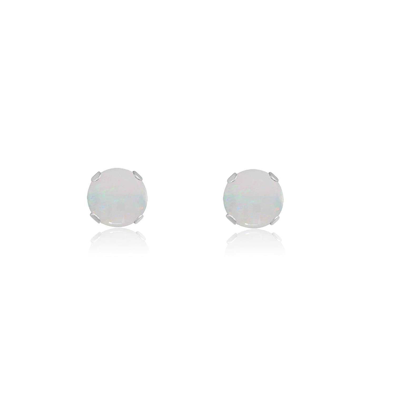 Sterling Silver 14k Yellow or Rose Goldplate Round 2mm Genuine Opal Stud Earrings 0.04 cttw
