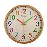 Foxtop Large Silent Non-Ticking Decorative Colorful Kids Wall Clock Battery Operated for Living Room Bedroom School Classroom Child Gifts 12.5 Inch – Easy to Read