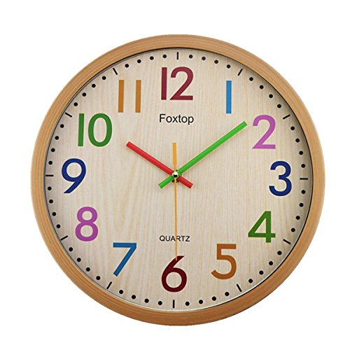 (Foxtop Silent Non-Ticking Kids Wall Clock, Large Decorative Colorful Battery Operated Clock for Living Room Bedroom School Classroom Child Gifts 12 Inch - Easy to Read)