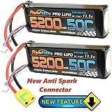 PowerHobby 3S 11.1V 5200mAh 50C Lipo Battery 2 Pack w XT90 Connector (2) Fits : Arrma Kraton Nero Tyhpon Senton Tailon OUTCAST FAZON