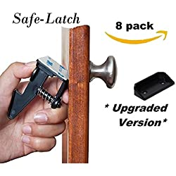 Child Safety Cabinet Latch Locks by Safe-Latch - No Tools Drilling or Screws - Baby Proof Drawers, Cabinets, Closets (8 pack locks and upgraded catchers)