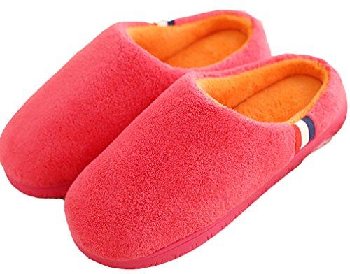 Dsmor Femmes Bonbons Couleur Chaud Pantoufles Dhiver Maison Pantoufles Pantoufles De Plancher Intérieur Rouge