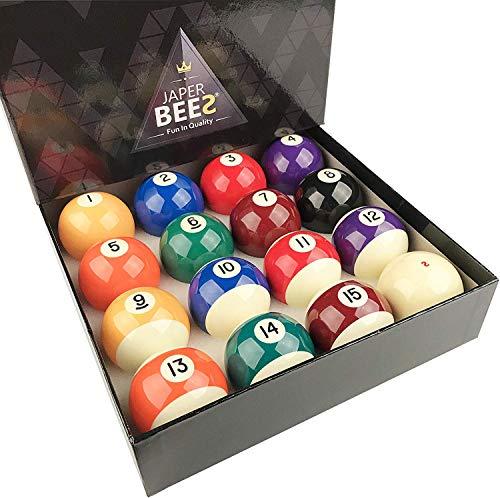 JaperBees Premium Professional Pool Table Billiard Ball Set, Regulation Size Resin Ball ...