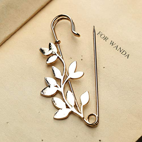 SaveStore DoreenBeads Leaf Pattern Safety Pin Brooch Men Women Suit Shirt Collar Pins Fashion Accessory for Sweater Scarf Coat Dress (Wire Leaf Fashion Pin)