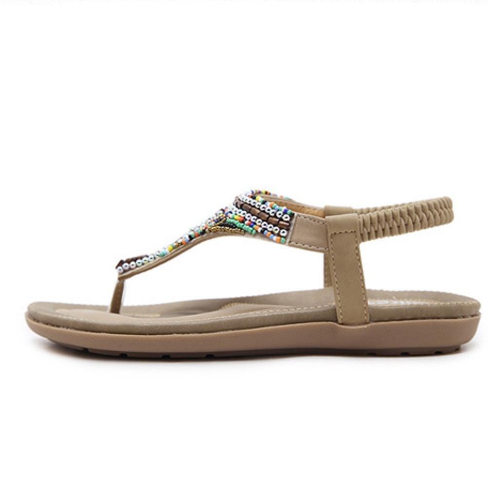 Womens Flat Sandalia Covermason Bohemia Leisure Bling Toe Post Sandalia plana Zapatos al aire libre(42 EU, Caqui): Amazon.es: Ropa y accesorios