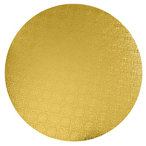 O'Creme Gold Wraparound Cake Pastry Round Drum Board 1/4 Inch Thick, 14 Inch Diameter - Pack of 10 (14 Inch Gold Cake Board)