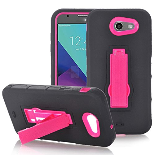voberry@ Hard Rubber Impact Armor Case Back Hybrid for Samsung Galaxy J7 2017 (Hot Pink)