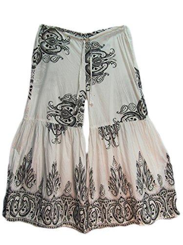 Womens Cotton White Black Paisley Bell-Bottom Flared Bohemian Yoga Pants -