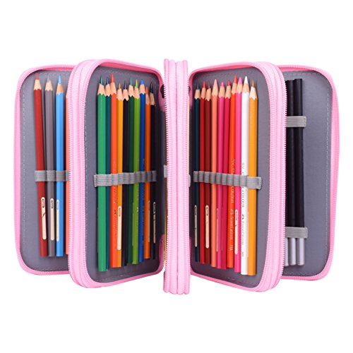 Colored Pencil Case, Newcomdigi 72 Pencil Case Bag Organizer Storage Large Capacity Pen Case Holder with Compartments Multi Layer Pen Pouch Portable For Boy Girl Student School Office Art Craft (Pink)