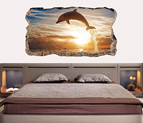 Startonight 3D Mural Wall Art Photo Decor Dolphin Amazing Dual View Surprise Large Wall Mural Wallpaper For Living Room Or Bedroom Beach Collection Wall Art 120 X 220 Cm