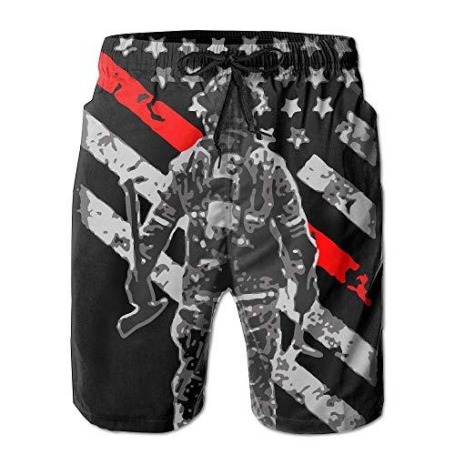 (Retro Firefighter Thin Red Line Men's Summer Swim Board Shorts)