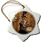3dRose Heike Köhnen Design Steampunk - Steampunk women with clocks and gears vintage design - 3 inch Snowflake Porcelain Ornament (orn_287309_1)