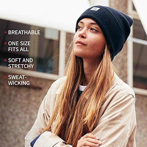 Soft /& Stretchable Unisex Cuffed Plain Knit Hat with Comfort Fit DANISH ENDURANCE Classic Merino Wool Beanie for Men /& Women Blue /& Light Grey Black with Recycled Materials in Grey