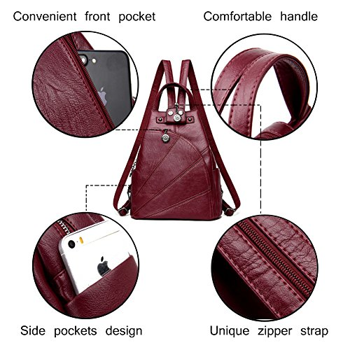 Purse Convertible Bag Small Women Shoulder Artwell Travel Sling Daypack Leather Black Backpack Handbag Crossbody vwIUtY