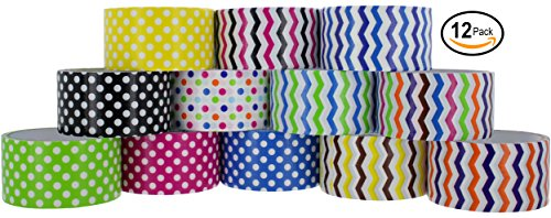 Duct Tape Wallet Kit (RamPro Chevron & Polka Dot Styles Heavy-Duty Duct Tape | Assorted Colors Pack of 12 Rolls, 1.88-inch x 5 Yard.)