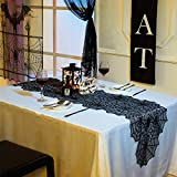 N&T NIETING Halloween Spider Web Black Lace Table Topper 20 x 80 inches,Black Lace Spider Web Table Runner Halloween Parties, Dinners Review