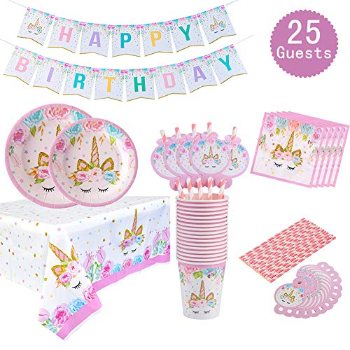 Unicorn Themed Party Supplies Set- Serves 25, Unicorn Birthday Banner, Plates, Tablecloths, Cups,Napkins and Straws, Disposable Magical Rainbow Unicorn Party Tableware