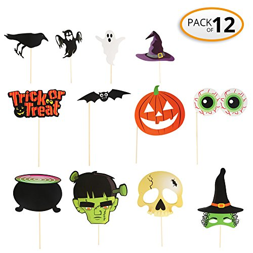 Halloween Party Masks Decorations Stick Photo Booth Props, Halloween Birthday Family Party Popular, NO DIY, Pack (Diy Vampire Costumes For Women)