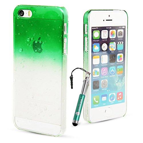 MadCase–Apple iPhone 5S/Apple iPhone 5–Ultra Fin Motif aquatique 3d goutte de pluie Coque Fittted Hardcase Coque avec protection d'écran et stylet–Vert