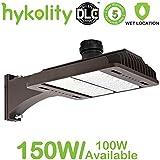 Hykolity LED Parking Lot Light, 150W 18000lm LED Shoebox Light 5000k Outdoor Large Area Weatherproof Pole Light Fixture [400W Equivalent] Arm/Pole/Yoke/Trunnion Mount, ETL&DLC Listed