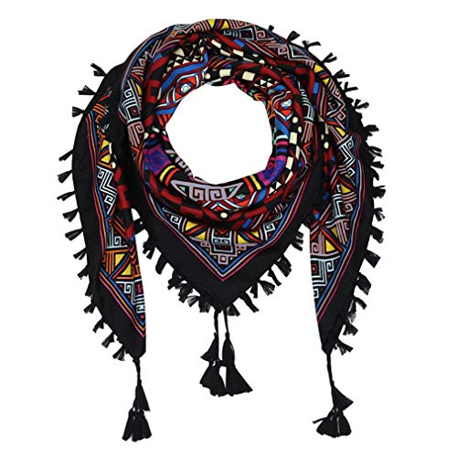 """DOCILA Colorful Geometry Print Tassel Scarf For Women Multifunctional Cotton Square Shawls Wraps Ethnic Style Head Neck Scarves 42.5""""42.5"""" (BlackRed)"""