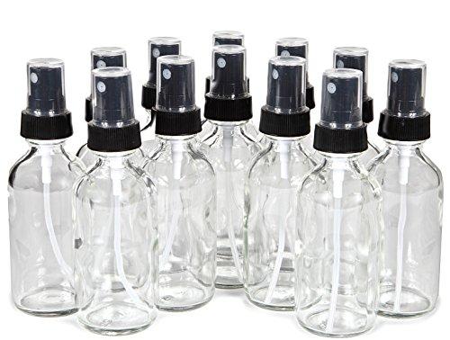 Vivaplex, 12, Clear, 2 oz Glass Bottles, with Black Fine Mis