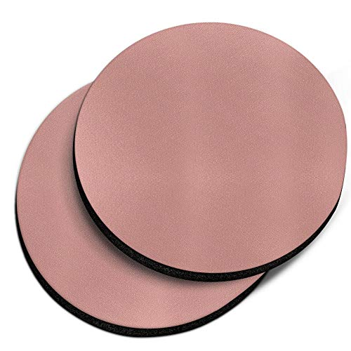 CARIBOU Coasters, Solid Rose Gold Design Absorbent ROUND Fabric Felt Neoprene Car Coasters for Drinks, 2pcs Set ()
