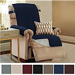 "Gorilla Grip Original Slip-Resistant Furniture Protector, Suede-Like Material, Slip Reducing Backing, Two 2"" Thick Straps, Perfect for Kids, Dogs, Cats, Pets, Sofa, and Couch (Recliner: Navy)"