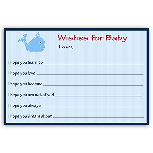 Nautical, Wishes for Baby Cards, Baby Shower, Ahoy It's a Boy, Red, Blue, Whale, Stripes, Anchors, Ocean, 24 Printed Wishes for the New Baby Cards, Keepsake