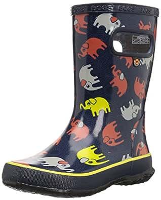 Bogs Skipper Kids Waterproof Rubber Rain Boot for Boys and Girls, Elephants Print/Dark Blue/Multi, 4 M US Big Kid