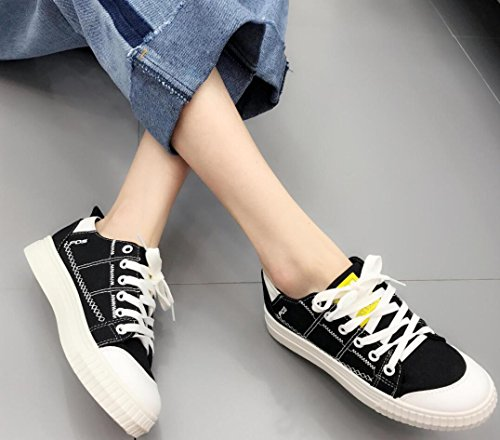 SATUKI Canvas Shoes For Women,Lace Up Casual Comfort Flat Fashion Sneakers Black