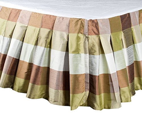 "TSC Green brown Buffalo checks inverted box pleated faux silk dupion bed skirt or dust ruffles with 18"" Drop (King Size (78""W X 80""L X 18""Drop))"