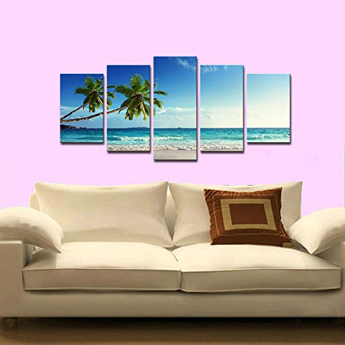 Amazon.com: Wieco Art 5 Panels Modern Stretched and Framed ...