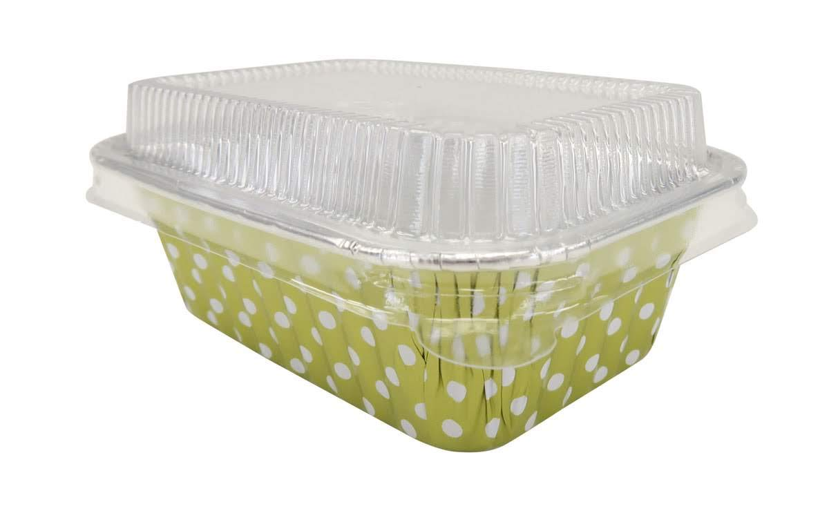 KitchenDance Disposable Aluminum Mini 6 Ounce Individual Sized Loaf Pans #4004 Color & Lid Options (Gold Polka Dot- with Lids, 500)