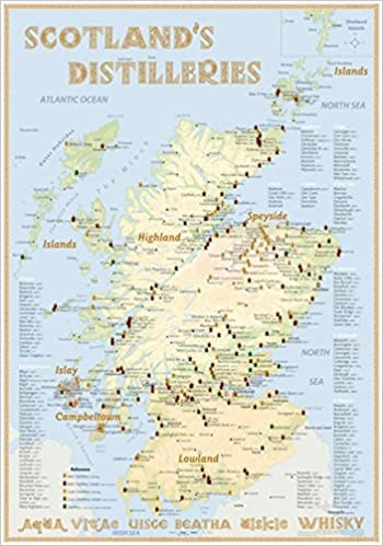 Whisky Karte Schottland.Whisky Distilleries Scotland Poster 70x100cm Standard Edition The