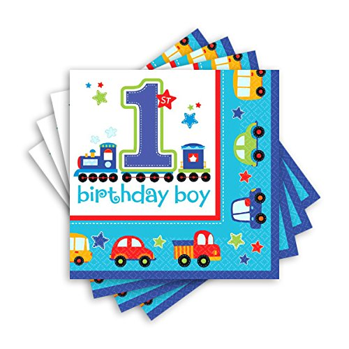 Amscan All Aboard Boy 1st Birthday Luncheon Napkins, Medium,